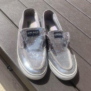 Silver glittery sperrys